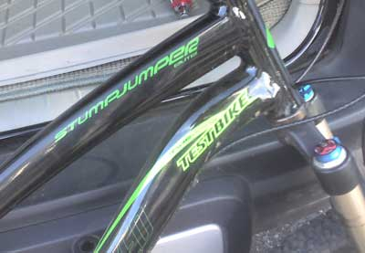 Test Bike Decal on the Stumpjumper