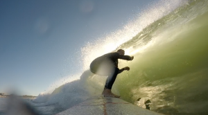 Crouching to get under the lip at Gooch's in mid-October.